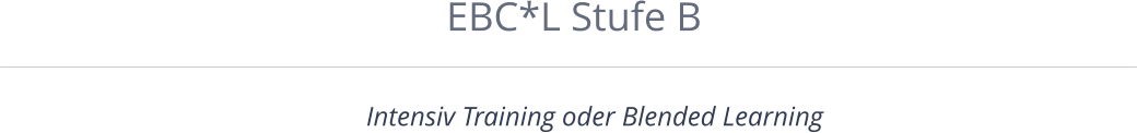 EBC*L Stufe B Intensiv Training oder Blended Learning